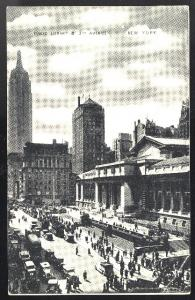 NY Manhattan Public Library and Fifth Ave.Cars New York City 1934 Postcard