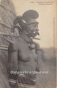 Femme Foulah African Nude Postcard Afrique Occidentale Writing on back