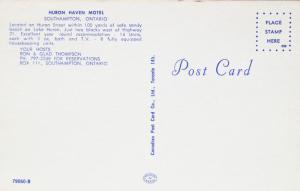 Huron Haven Motel Southampton Ontario ON Motels Unused Vintage Postcard E14