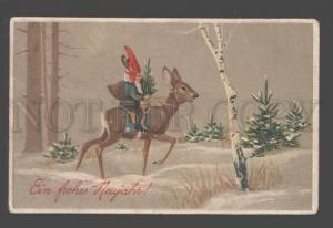 093589 New Year GNOME as SANTA CLAUS on Young Deer Vintage PC