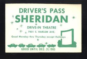 1963 Sheridan Drive-In Theatre Driver's Pass, Bridgeview, Illinois/IL