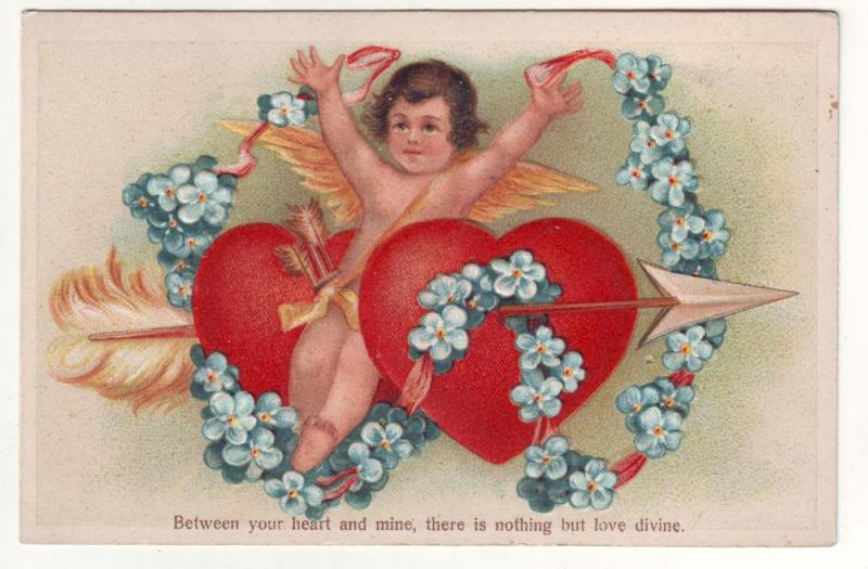 P170 JL old postcard cupid 2 hearts with arrow between heart