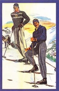 Nostalgia Postcard Art 1930's-1950's Skiers Perfect Technique #SP12