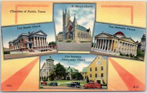 Austin, Texas Postcard Churches of Austin, Tex. 4 Building Views Linen c1940s