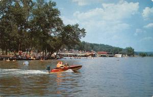 Rockaway Beach Missouri~Speedboat Flies Past Crowd~Docks~Floating Barrel~1960s