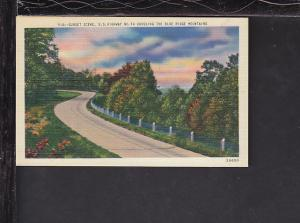 Sunset Scene,US Highway 74,Blue Ridge Mountains Postcard