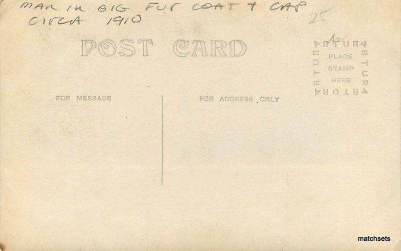 Circa 1910 Big Fur Coat Cap RPPC Real photo postcard 11558