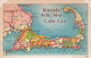 Tourists' Auto Map Of Cape Cod Massachusetts