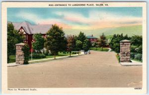 SALEM, Virginia  VA   Entrance to LANGHORNE PLACE  ca 1940s Linen  Postcard