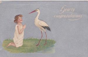 Birth Hearty Congratulations Young Girl With Stork 1944