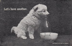 Let's have another, White Puppy Dog with milk container & bowl, PU-1911