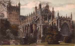 Exeter Cathedral, S.E., England, early hand colored postcard unused