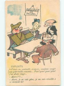 foreign 1941 FRENCH MILITARY COMIC POSTCARD DURING WWII ERA AC3019