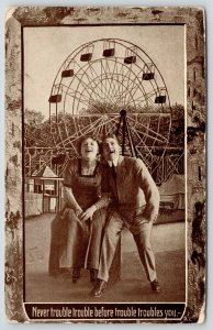Amusement Park Couple Laugh Maniacally~Ferris Wheel~Never Trouble Trouble~1913 P