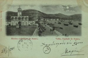 greece, SAMOS VATHY Βαθύ, Catholic Mission (1901) Moonlight Postcard