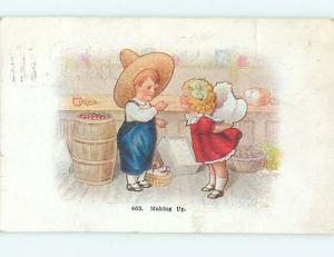 Pre-Linen MAKING UP - BOY GIVES CANDY STICK TO CUTE GIRL HJ4185
