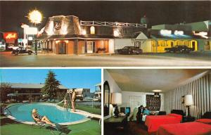 Dover Delaware~Quality Inn South~3 Views~Bathing Beauty @ Pool~Room~Night~1960s