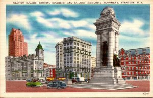 New York Syracuse Clinton Square Showing Soldiers and sailors Memoorial Monum...