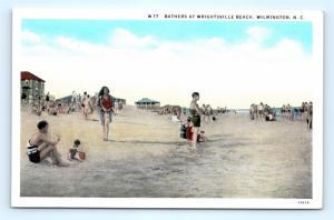 Postcard NC Wilmington Beach Bathers at Wrightsville Beach c1930s I8
