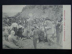 Vesuvius Eruzione del Vesuvio BOSCOTRECASE PROCESSION OF ST. ANNA c1906 RARE PC