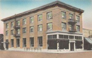LPS57 Klamath Falls Oregon First National Bank Hand Colored Postcard
