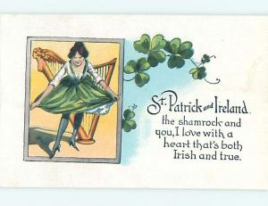 Unused 1930's st. patrick HARP PLAYING GIRL DOES CURTSEY o5020