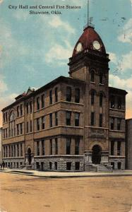 Shawnee Oklahoma City Hall And Central Fire Station Antique Postcard K12921