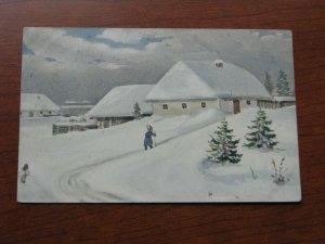 Russia Postcard Used 1909 Postmark Winter Scene Snow Village?