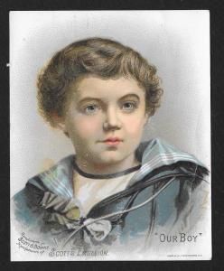 VICTORIAN TRADE CARD Scott's Emulsion Our Boy