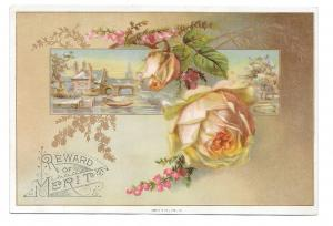 Antique Victorian Reward of Merit Pale Pink Rose Gold Leaves Gibson 4X6 Card