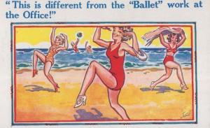 Ballet Dance Dancing On Beach 1950s Seaside Comic Humour Postcard