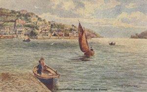 Kingswear From Dartmouth Ferry Old Ship Oilette Postcard