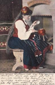 Swedene Delsbo Helsingland Young Girl In Traditional Costume 1904