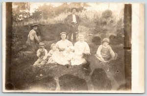 Springfield IL~Hattie & Family~Down in the Pasture~Son Milks Cow~Pig~1909 RPPC