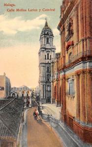 Spain Old Vintage Antique Post Card Calle Molina Larios y Catedral Malaga Unused