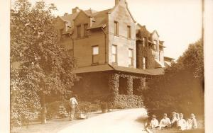 Caretaker Mows Yard~Ivy-Covered Porch~Dutch Architecture~6 Orphans? RPPC c1910