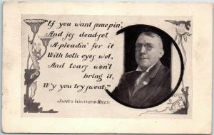 JAMES WHITCOMB RILEY Greetings Postcard If You Want Sumpin'… Dated 1931