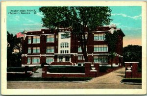 Chanute, Kansas Postcard Senior High School Building View KROPP c1930s Unused