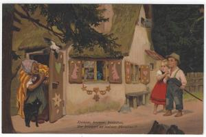 Early Fantasy/Halloween PC, Old Witch, Black Cat Beckons Boy & Girl to Her House