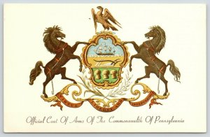 Pennsylvania Commonwealth (State) Coat of Arms~Eagle~Horses~Sail Boat~1950s
