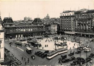 Belgium Brussels Rogier Square and Station trams cars postcard