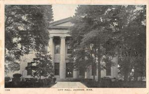 Jackson Mississippi City Hall Street View Antique Postcard K34027