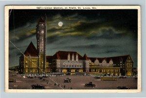 St Louis MO-Missouri, Union Station At Night, Moon Vintage c1926 Postcard