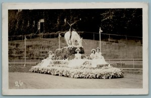 Oregon City OR Parade Float: The End of the Trail Weary Indian RPPC c1941