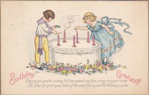 Birthday Greetings Children Lighting Candles On Large Cake 1912