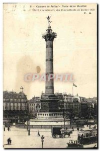 Old Postcard Place Paris July Column Bastille
