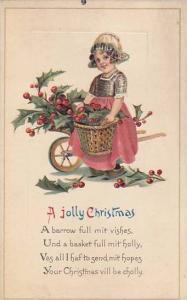 A Jolly Christmas, Girl holding basketful of holly, PU-1916