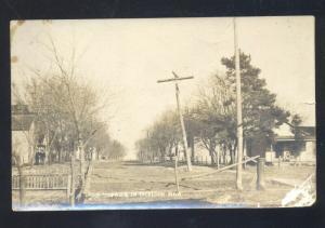 RPPC MERIDEN KANSAS RESIDENCE STREET SCENE VINTAGE REAL PHOTO POSTCARD 1912
