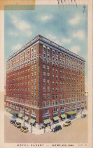 Iowa Des Moines Hotel Savery 1938 Curteich