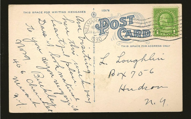 USA Postmark 1930 Newark NY The Park Newark NY Linen Postcard